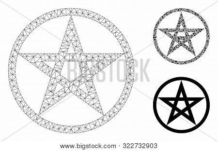 Mesh Star Pentacle Model With Triangle Mosaic Icon. Wire Frame Triangular Mesh Of Star Pentacle. Vec
