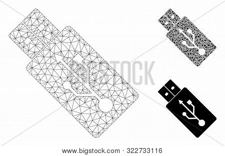 Mesh Usb Drive Model With Triangle Mosaic Icon. Wire Carcass Polygonal Mesh Of Usb Drive. Vector Mos