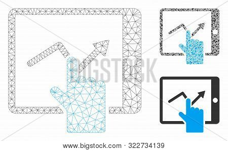 Mesh Tap Trend On Pda Model With Triangle Mosaic Icon. Wire Carcass Polygonal Mesh Of Tap Trend On P
