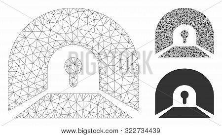 Mesh Private Tunnel Model With Triangle Mosaic Icon. Wire Frame Polygonal Mesh Of Private Tunnel. Ve