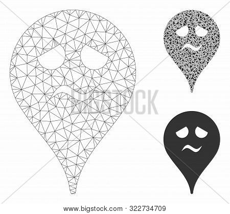 Mesh Trouble Smiley Map Marker Model With Triangle Mosaic Icon. Wire Carcass Triangular Mesh Of Trou