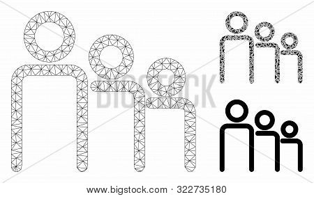 Mesh Trio Model With Triangle Mosaic Icon. Wire Frame Triangular Mesh Of Trio. Vector Mosaic Of Tria