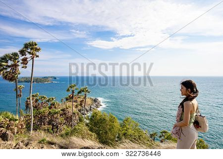Phuket, Thailand : May 2019 :  Asia Girl Looking To Seascape Of Phuket Best Sunset View Point Sunset