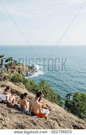 Phuket, Thailand : May 2019 :  Asia Tourists Looking To Seascape Of Phuket Best Sunset View Point Su