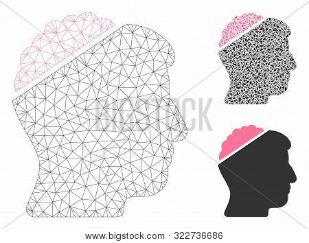 Mesh Open Mind Model With Triangle Mosaic Icon. Wire Frame Triangular Mesh Of Open Mind. Vector Mosa