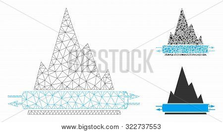 Mesh Vpn Tunnel Model With Triangle Mosaic Icon. Wire Frame Triangular Mesh Of Vpn Tunnel. Vector Mo