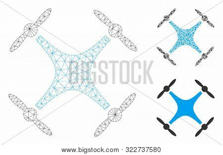 Mesh Quadcopter Model With Triangle Mosaic Icon. Wire Carcass Polygonal Mesh Of Quadcopter. Vector M