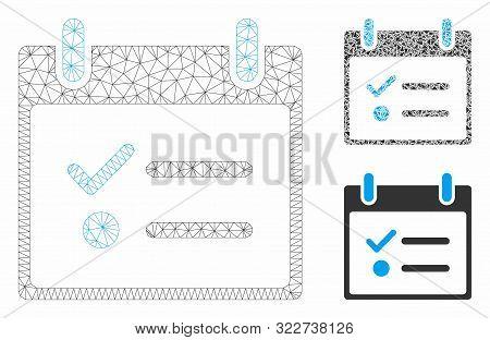 Mesh Todo List Calendar Day Model With Triangle Mosaic Icon. Wire Carcass Triangular Mesh Of Todo Li