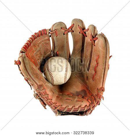 Baseball Glove Over White