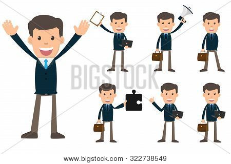 Collection Set Of Business Man Showing Different Gestures Character Vector Design Illustration.