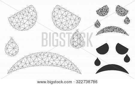 Mesh Tears Smiley Model With Triangle Mosaic Icon. Wire Carcass Triangular Mesh Of Tears Smiley. Vec