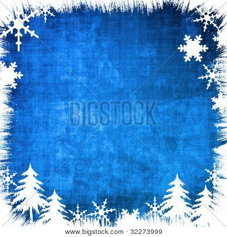 Blue grungy christmas background