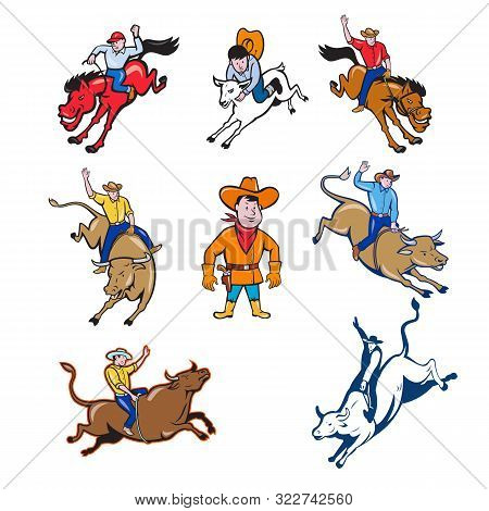 Set Or Collection Of Cartoon Character Mascot Style Illustration Of A Rodeo Cowboy Riding Bucking Br