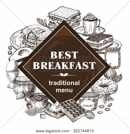 Breakfasts And Brunches. Food Menu, Design Vintage