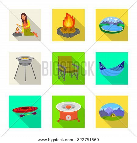 Vector Design Of Cookout And Wildlife Logo. Collection Of Cookout And Rest Stock Vector Illustration