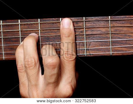 Human Hand, Hold A Chord On The Guitar Fretboard, Close-up, Music Lesson