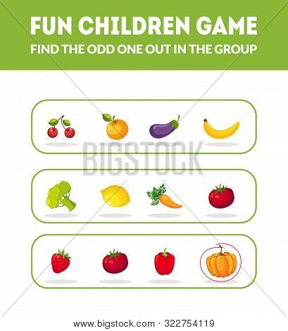 Fun Children Game, Find The Odd One Out In The Group , Educational Game For Preschool Kids Vector Il