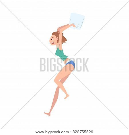 Beautiful Happy Girl In Underwear Playing Pillow Fight At Slumber Party Vector Illustration