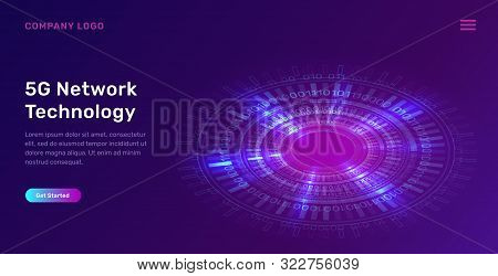 Glowing Blue Neon Ring Or Futuristic Circle With Digital Binary Code, Concept Vector Tech Illustrati