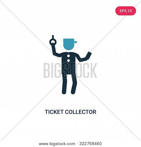 ticket collector icon in two color design style. poster