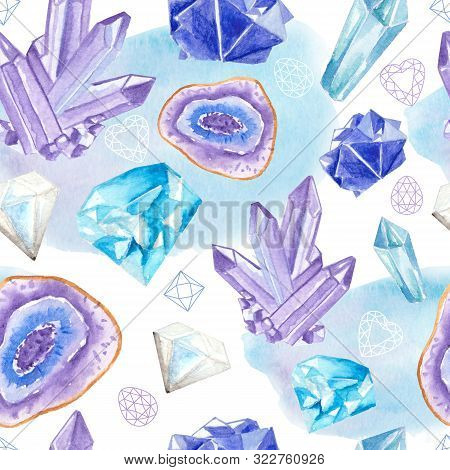 Seamless Pattern With Bright Hand Painted Watercolor Crystals And Gems.