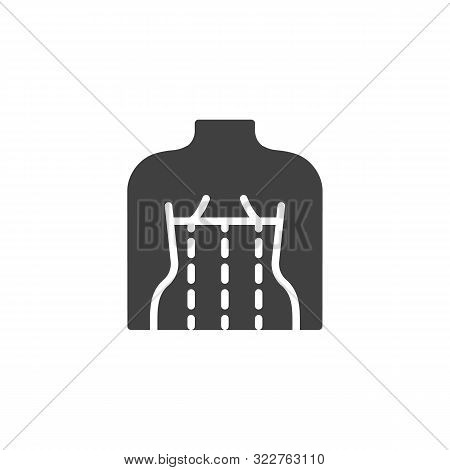 Orthopedic Corset On The Human Body Vector Icon. Filled Flat Sign For Mobile Concept And Web Design.