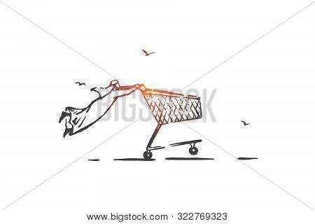 Hot Sale, Commerce Concept Sketch. Consumerism, Wholesale Metaphor, Arab Businessman, Shop Customer,