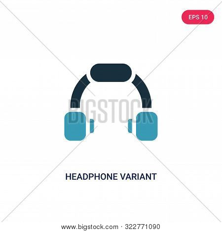 headphone variant icon in two color design style.