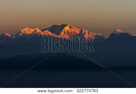 Kanchenjunga Peaks Seen From Sikkim In India