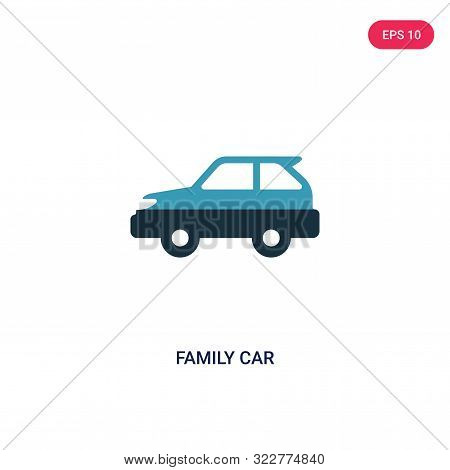 Family Car Icon In Two Color Design Style. Family Car Vector Icon Modern And Trendy Flat Symbol For