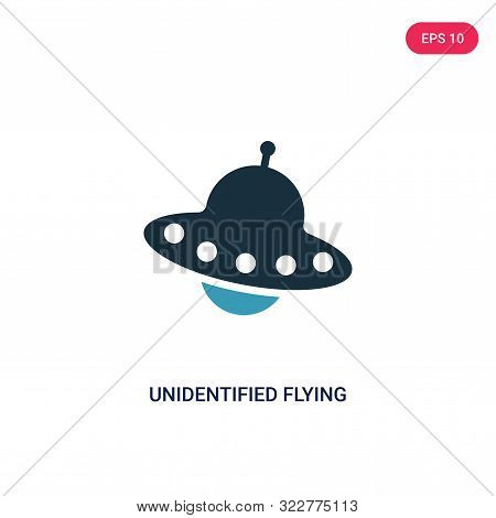 unidentified flying icon in two color design style.