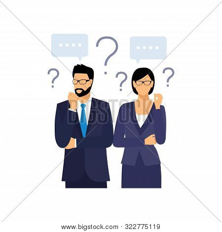 Man And Woman With Question Marks. Man With Question.  Vector Male Character Solving Problem. Dilemm
