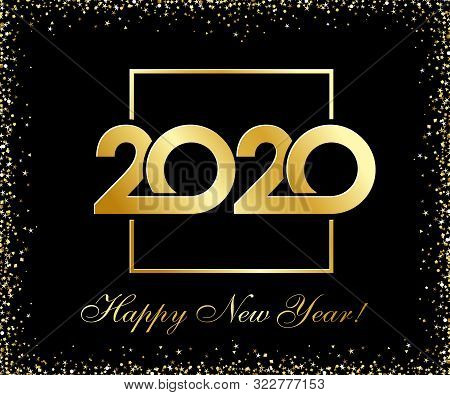 2020 Happy New Year Golden Glittering Logo Design. Vector Illustration With Black Holiday Label Isol