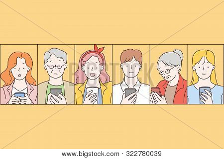 Social Networks, Message, Communication Concept. People Read News On A Mobile Phone With Different F