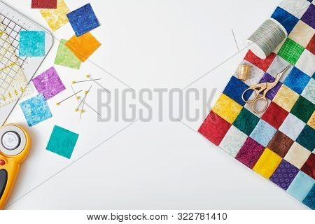 Part Of Quilt Sewn From Colorful Square Pieces, Bright Square Pieces Of Fabric, Quilting And Sewing