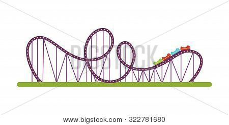 Roller Coaster Flat Vector Illustration. Amusement Park Classic Attraction Isolated Design Element.