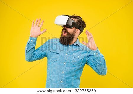 The Game Is On. Hipster Play Video Game. Bearded Man Explore Vr Yellow Background. Game Developer Or