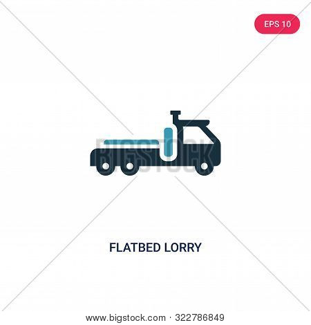 flatbed lorry icon in two color design style.