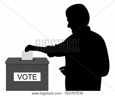 Man Voter Putting Ballot Voting Paper In Ballot Box