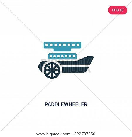 paddlewheeler icon in two color design style.