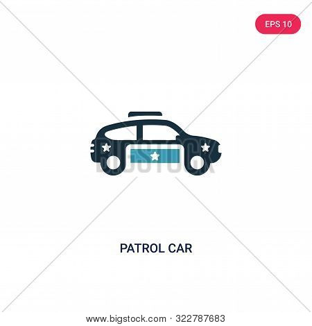patrol car icon in two color design style.