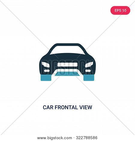 car frontal view icon in two color design style.