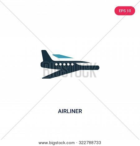 airliner icon in two color design style.