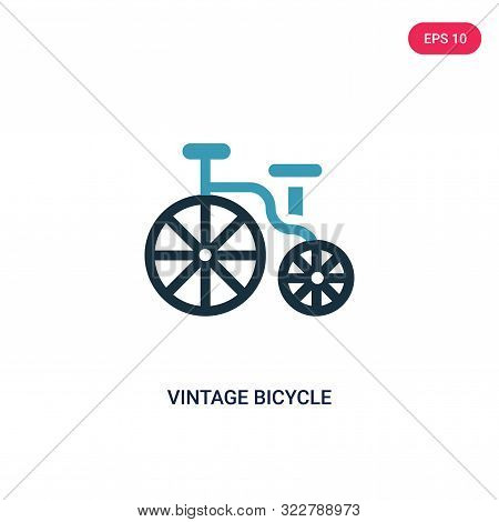 Vintage Bicycle Icon In Two Color Design Style. Vintage Bicycle Vector Icon Modern And Trendy Flat S