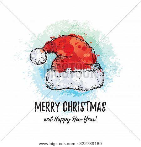 Merry Christmas Greeting Card. Santa Claus Hat, Hand Drawn Doodle Sketch Style. Cute Santa Cap, Wint