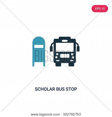 scholar bus stop icon in two color design style.