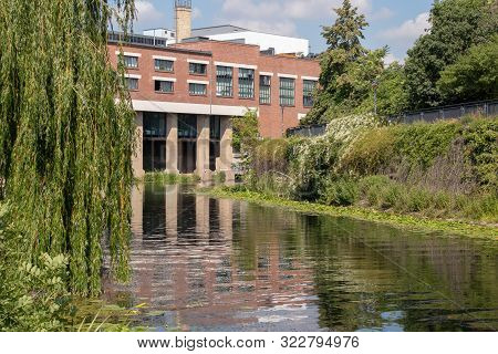 Picture Of The Karl Heine Canal In Leipzig Between The City And Lindenau Harbor. In The Background T