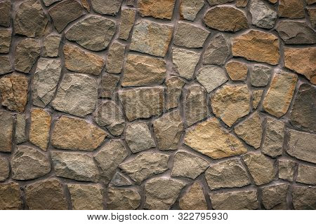 Brown Stone Texture, Retro Style. Brick Wall Background. Abstract Rocks Pattern. Gray Stones, Textur