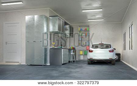 Modern Garage Interior With A White Car  . 3d Illustration