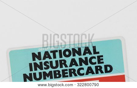 London / Uk - September 14th 2019 - Top Of A National Insurance Numbercard, Issued By The Uk Departm